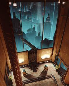 BioShock: The City of Rapture Bioshock Game, Bioshock Series, Bioshock Rapture, Bioshock Infinite, Video Game Art, Video Games, Bioshock Artwork, Underwater City, Art Deco