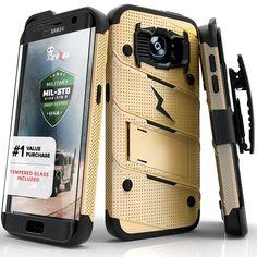 Zizo BOLT Super Defender Samsung Galaxy S7 Edge Case - Gold/Black