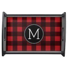 Rustic Red & Black Buffalo Plaid Pattern Monogram Food Tray