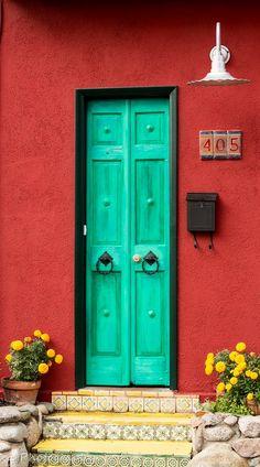 Residence in Tucson's Barrio Historico, Arizona Door Entryway, Entrance Doors, Doorway, Cool Doors, Unique Doors, Porte Design, When One Door Closes, Door Detail, Door Gate
