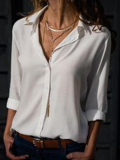 Oufisun Spring Autumn Solid Chiffon Blouse Women's Shirt 2018 new Fashion Casual Plus Size Shirts Long Sleeve Office Tops Shirt Plus Size Shirts, Plus Size Tops, Basic Tops, Chiffon Shirt, Look Fashion, Fashion Styles, 50 Fashion, Fashion Spring, Fashion Ideas
