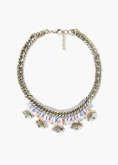Boncuklu zincir kolye - Tişört - Kadın | MANGO