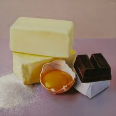 Butter, Sugar, Cracked Egg and Baker's Chocolate, painting by artist Oriana Kacicek