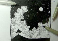 ink drawing nighttime - Google Search