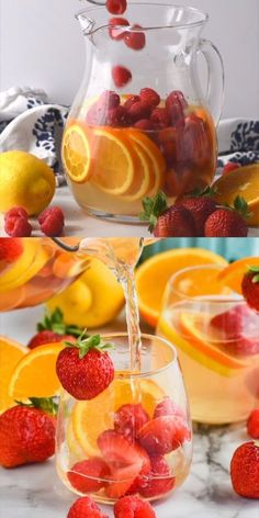 Coctails Recipes, Punch Recipes, Wine Recipes, White Wine Sangria, Sangria Cocktail, Sangria Fruit, Sangria Pitcher, Sangria With Champagne, White Sangria Punch
