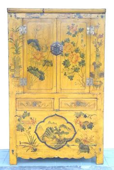 Rare Antiique Chinese yellow painted Asian Cabinet $4965.00 »★«Elysian Interiors»★«