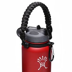 Hydro Flask Handle - Paracord Survival Strap with Security Ring for Wide Mouth Water Bottles Carrier (Purple/Black) Backpacking Gear, Camping Gear, Water Bottle Carrier, Yoga Shoes, Hydro Flask, Fitness Watch, Purple And Black, Black White, Survival Gear