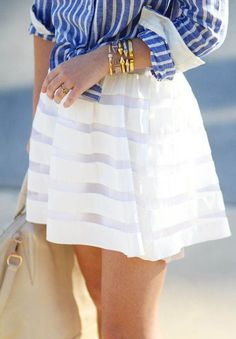 Blue, white, and stripes.