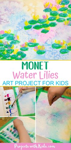 Create beautiful and colorful paintings inspired by the famous artist Claude Monet. Explore easy watercolor techniques and oil pastels in this Monet inspired water lilies art project for kids. easy art Monet Inspired Art Projects for Kids
