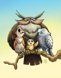 Worked on this on and off for a bit; but calling it done for now, (till I decide to redo/ redesign it later that is.) Owls are weird.