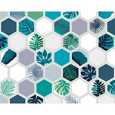 Create a stunning feature wall in your home with the ohpopsi Botanical Hexagonal Prisms wall mural. Soft grey hexagonal prisms feature botanical floral leaves in this relaxing design. A calming statement piece for any wall. Feature Wallpaper, Photo Wallpaper, Wall Wallpaper, Hexagon Wallpaper, Buy Wallpaper Online, Wall Painting Decor, Inspiration Wall, Geometric Wall, Paint Designs