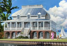 Dramatic Low Country House Plan - 32651WP | 1st Floor Master Suite, Butler Walk-in Pantry, Corner Lot, Elevator, Jack