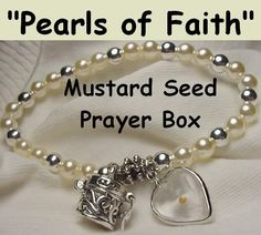 Religous Jewelry Mustard Seed Prayer Box Pearl Bead Bracelet