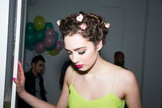 #TedBakerSS14: Backstage hairstyle with flowers