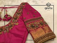 blouse designs The art of flowers in pink silk blouse & highlighted with pearl and antique work. Further details: . Wedding Saree Blouse Designs, Simple Blouse Designs, Stylish Blouse Design, Silk Saree Blouse Designs, Blouse Neck Designs, Sari Blouse, Traditional Blouse Designs, Designer Blouse Patterns, Pink Silk