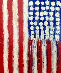 American Flag Art Original Abstract Painting 20x24 by Matt Pecson