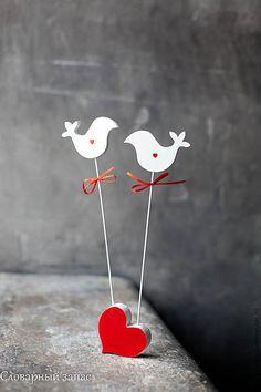 Купить Птички (пара влюбленных). Украшение стола. - белый, птички, для стола, украшение интерьера