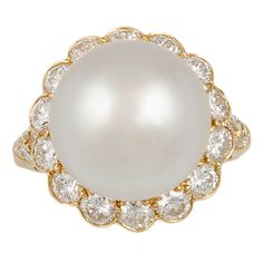 VAN CLEEF & ARPELS Diamond & Pearl Ring | From a unique collection of vintage cocktail rings at http://www.1stdibs.com/jewelry/rings/cocktail-rings/