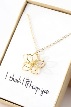 Delicate Gold Flower Necklace Simple Flower