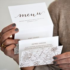 Menu | Looking for an interesting and creative way to display your wedding menu? This accordion fold cleverly excites your guests for the meal ahead. #menu #wedding #invitations