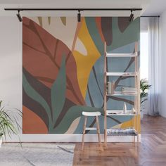 Abstract Art Jungle Wall Mural by thindesign Bathroom Mural, Bedroom Murals, Bedroom Wall, Mural Wall Art, Mural Painting, Wall Painting Flowers, Creative Wall Painting, Wall Painting Design, Removable Wall Murals