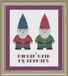 Hangin' with my gnomies cute gnome by nerdylittlestitcher on Etsy, $3.00