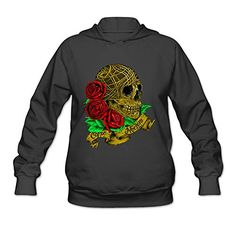 DVPHQ Womens Custom Sugar Skull Roses Day Of The Dead Hooded Sweatshirt Size XXL Black *** Check out the image by visiting the link.