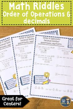 Order of Operations 6 Decimals with Parenthesis and Exponents Math with Riddles Math Stations, Math Centers, Math Resources, Math Activities, 8th Grade Math, Sixth Grade, Math Riddles With Answers, Teaching Math, Teaching Tools