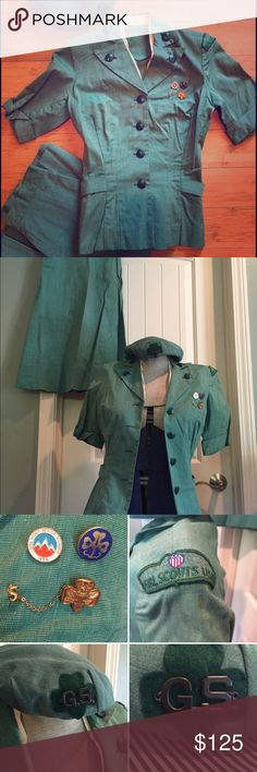 """•VTG• Girl Scout Roundup 1959! ✨ This is truly a unique treasure! Excellent Condition Vintage Girl Scout Roundup Includes: Jacket, Skirt, Hat and 3 Pins!! No damage, stains or odor. The only flaw is on the left breast of the jacket there are a couple pin size holes where another pin once was. Jacket Bust: 16"""" Length 20"""". Skirt with Metal Zipper Waist:11"""" Hips 18"""" Length 28"""". Hat Sz Small ✨Estate Sale Treasure!!✨ Pins: 1950's Clover and Stars, Senior Roundup and 5 Year Eagle Pin! Awesome! ✨✨…"""
