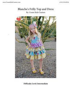 Blanche's Frilly top and dress de Ckc de 6/12 mois à 8 ans