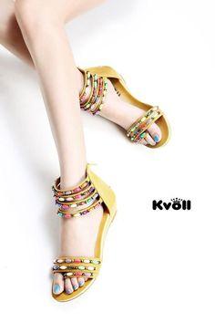 Designer Damen Schuhe,Wedge,Sandalen,Riemen,Bunte Perlen 1A Qualität  UVP 29,90€