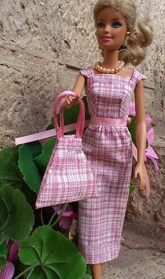 Vintage style Barbie dress and matching purse