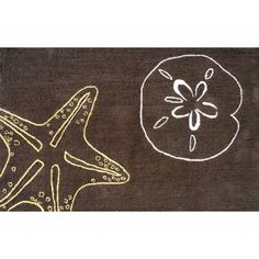 Lush Deep Chocolate Brown Coastal Theme 2.8x4.8 Cotton Hooked Area Rug With  Light