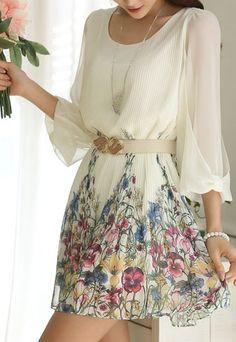 $27.99 USD[grzxy6601546]Three Quarter Sleeve Sweet Floral Print Shift Dress