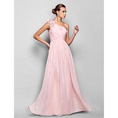 Formal+Evening+/+Prom+/+Military+Ball+Dress+-+Pearl+Pink+Plus+Sizes+/+Petite+Sheath/Column+One+Shoulder+Floor-length+Chiffon+–+USD+$+79.99