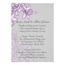 Elegant Grey Floral Swirls Design Wedding Invite