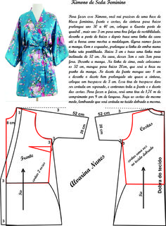 Costura e Modelagem Fashion Sewing, Kimono Fashion, Dress Sewing Patterns, Clothing Patterns, Sewing Clothes, Diy Clothes, Costura Fashion, Night Dress For Women, Make Your Own Clothes