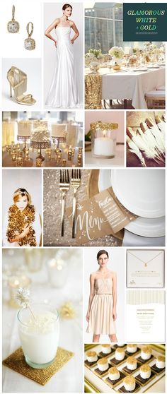 Love the white and glittery gold theme with lots and lots of candles. Throw in some white and blush colored flowers with some greenery... beautiful