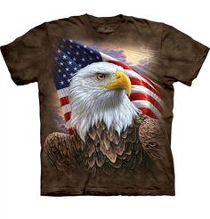 Independence Eagle Patriotic Tie Dye T-shirt USA Patriotic Shirts A glorious Bald Eagle is backed by Old Glory on this true piece of Americana Tie Dye T Shirts, Tee Shirts, Tees, Graphic Shirts, Order T Shirts, Eagle Bird, Eagle Shirts, Patriotic Shirts, Cool T Shirts