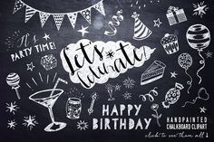 Chalkboard Birthday Party Clipart by DigitalCloud on @creativemarket