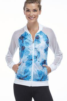 Atlanta Jacket Fabletics #ropa #deportiva #paravientos #corta #vientos #chaqueta #azul #verano