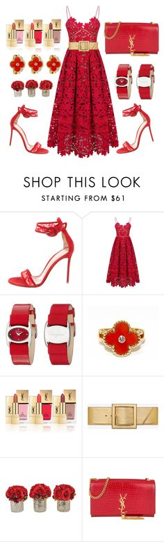 """""""Forbidden romance"""" by ellenfischerbeauty ❤ liked on Polyvore featuring Gianvito Rossi, Salvatore Ferragamo, Van Cleef & Arpels, Yves Saint Laurent and The French Bee"""