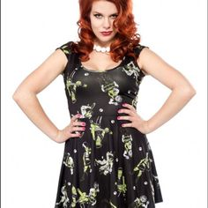 Sourpuss Monster Mash minidress Minidress with rocking monsters. Fits size 14-18. Reposhing because of the fit. Excellent condition. Sourpuss Dresses Mini