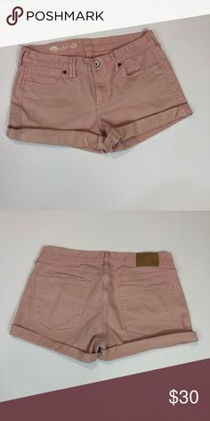 55fc2b433a19 Madewell Light Pink Jean Shorts Size 28 -0215