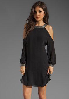 Haute Hippie Cold Shoulder Dress with Embellished Neck in Black