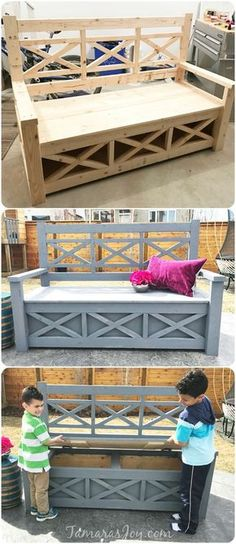 This diy outdoor storage bench started from an Ana White building plan. With a f… This diy outdoor storage bench started from an Ana White building plan. With a few tweaks a bench was turned into a DIY outdoor storage bench, check it out! Woodworking Projects Diy, Woodworking Bench, Diy Wood Projects, Furniture Projects, Furniture Plans, Popular Woodworking, Woodworking Articles, Woodworking Chisels, Building Furniture
