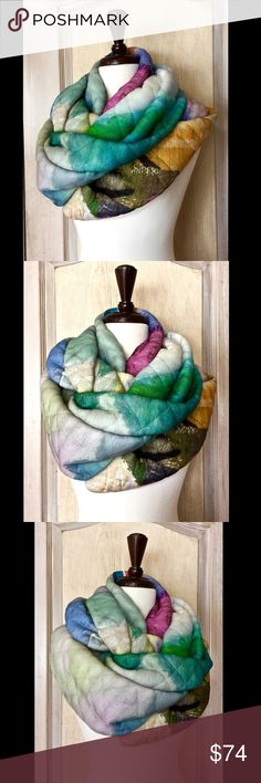 """Anthropologie Watercolor Quilted Double Wrap Scarf Anthropologie Blank London Watercolor Quilted Double Wrap Infinity Scarf thick, soft, luscious & handmade  New With Tags    78"""" x 12""""   Check out my other items! Be sure to add me to your favorites list! Anthropologie Accessories Scarves & Wraps"""