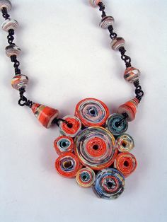 Matisse Paper Bead Necklace- I see alot of people doing this look, very artsy, bohemian.