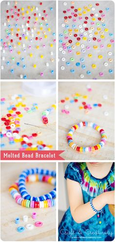 Melted and flattened hama / perler beads - Preheat the oven to 400°F, place beads a lined baking tray. Place it in the oven and after about 5 minutes the beads will have melted.