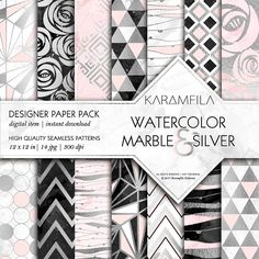 Marble Silver and Pink Patterns by Karamfila on @creativemarket